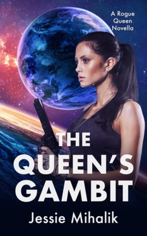 The Queen's Gambit Cover. Queen Samara with her hair up in a ponytail, wearing a black tank top and holding a gun in front of an alien planet.
