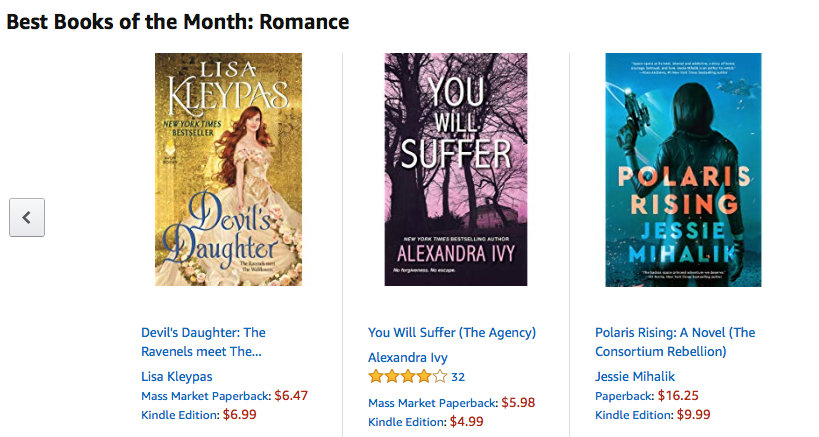 Amazon's best romance books of the month, including POLARIS RISING.