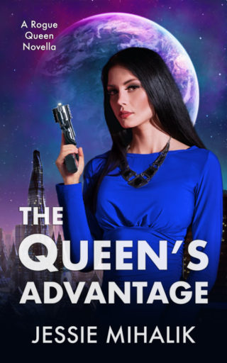 The Queen's Advantage Cover. Queen Samara wearing a blue dress with her hair down, holding a gun, and standing in front of an alien city with a planet in the background.