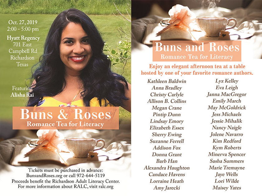 Buns & Roses postcard. October 27, 2019, 2-5PM, Hyatt Regency 701 E Campbell Rd, Richardson, TX. Featuring Alisha Rai. Includes a list of other authors.