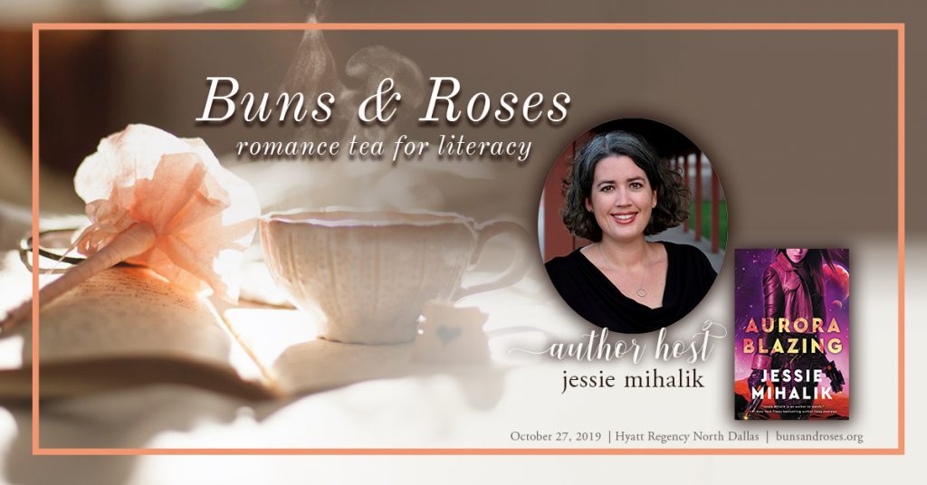 Buns & Roses event image, featuring my author photo and the cover of Aurora Blazing.
