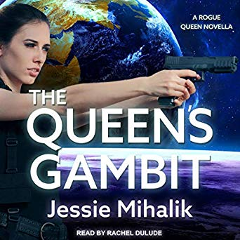 The Queen's Gambit Audiobook cover featuring a woman with a gun with planets behind her.