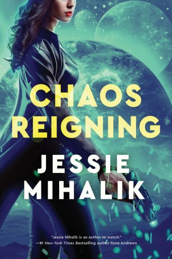 CHAOS REIGNING cover. A woman with dark, curly hair, in a long leather coat, facing left and holding a blaster. The background is an alien landscape with a planet and two moons in the sky and everything is shaded green-blue.