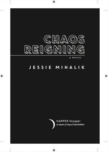 Title page for Chaos Reigning, with white wireframe text on a black background.