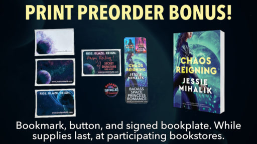 Print Preorder Bonus! A picture of the four different bookplate designs as well as the button and bookmark. While supplies last, at participating bookstores.