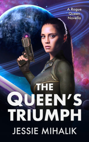 The Queens Triumph Cover. Queen Samara in battle armor, looking at the viewer, holding a gun in front of a planet with rings.