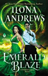 Emerald Blaze Cover. A dark-haired white woman in a long green dress holding a sword next to a dark-haired white man in a white shirt with an open color and rolled up sleeves holding a pistol.