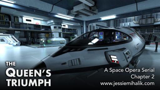 The Queen's Triumph, a space opera serial. Image includes a futuristic spaceship in a gray hangar.  www.jessiemihalik.com
