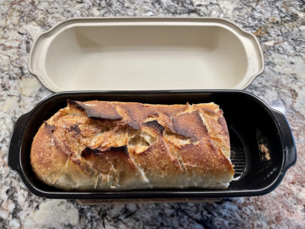 The same loaf in the Emile Henry pan, after we'd sliced some off for sandwiches.
