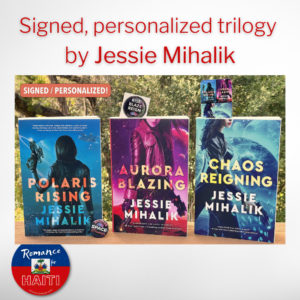 A signed, personalized Consortium Rebellion trilogy (Polaris Rising, Aurora Blazing, Chaos Reigning) is up for auction!