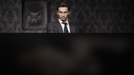 A man in a suit staring at the camera with a cat photo behind him. The bottom of the photo is blurred out.